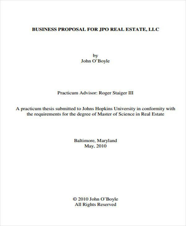9 Real Estate Business Proposal Templates - Free Sample, Example ...