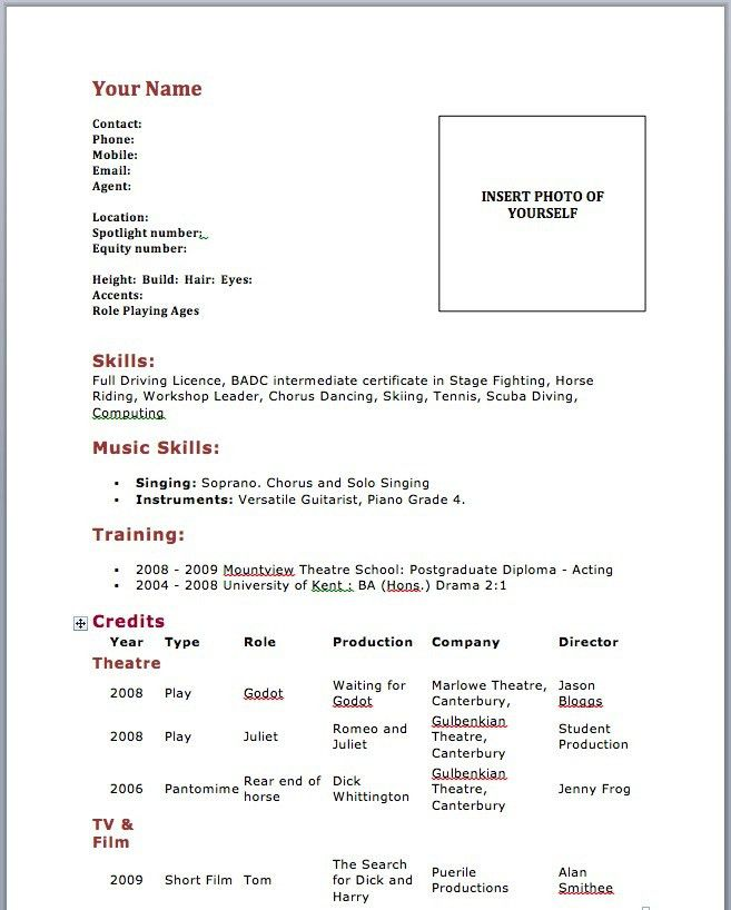 Actors Resume Template. Actors Resume Example Child Actor Resume ...