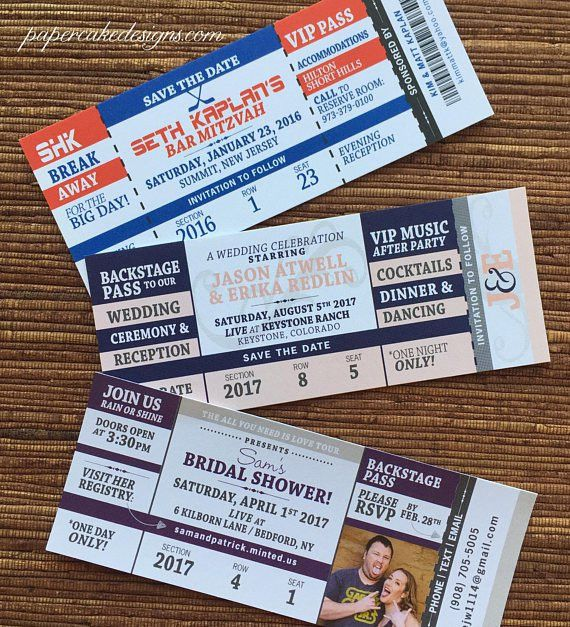 Concert Ticket Save the Date or Invitation / DIY Printable PDF
