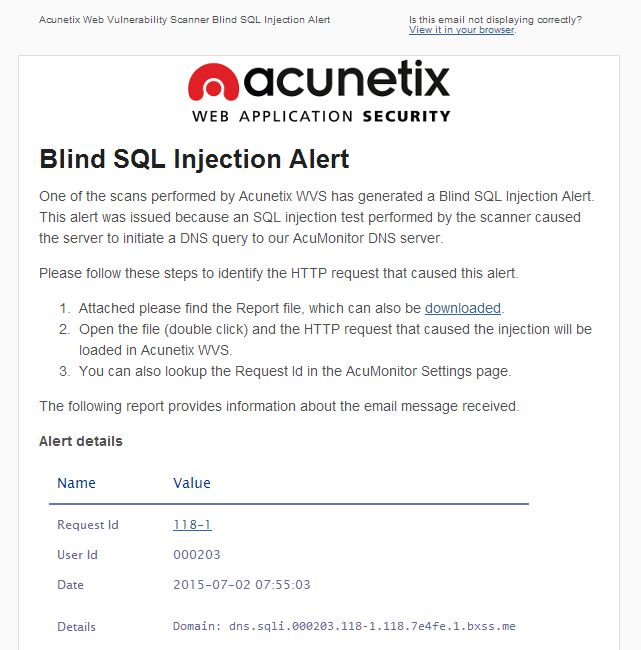 Blind Out-of-band SQL Injection vulnerabilities