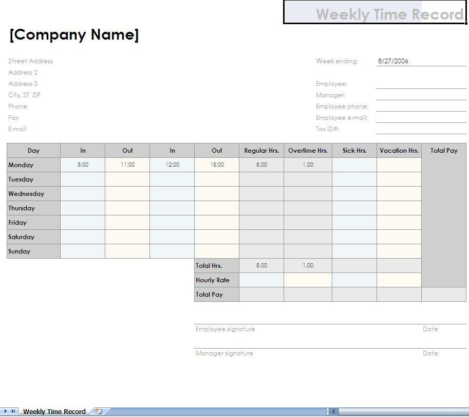 Payroll Timesheet Template. Numbers Timesheet Template Word Format ...