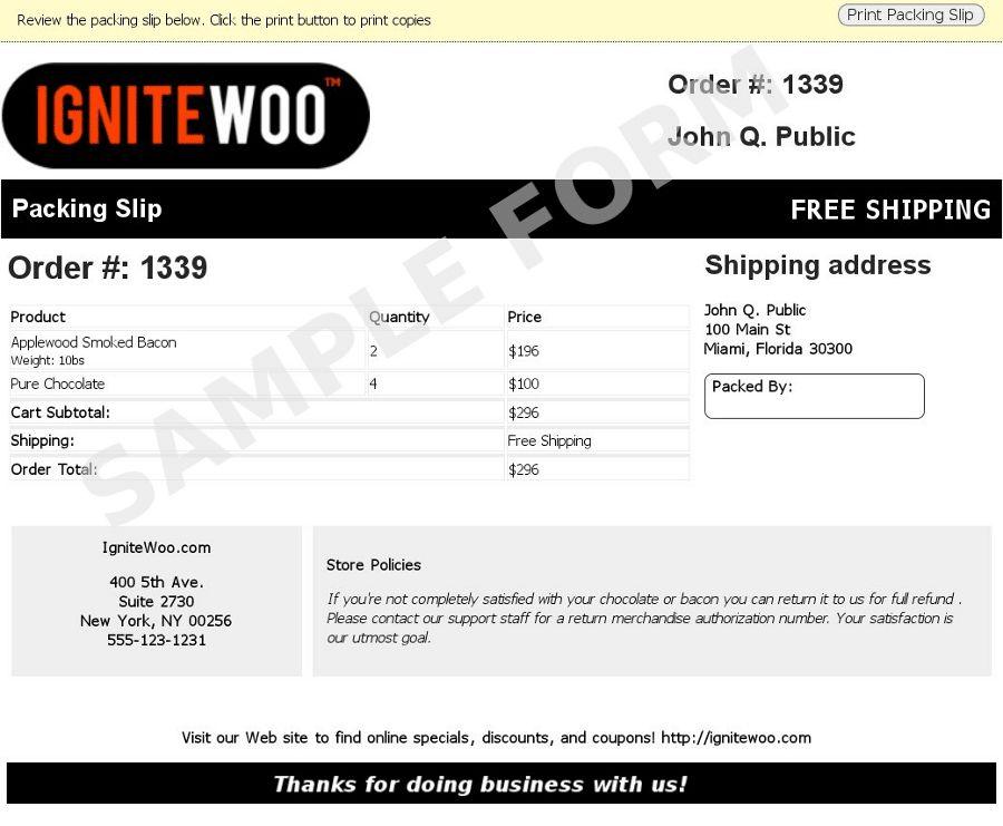 WooCommerce Packing Slips
