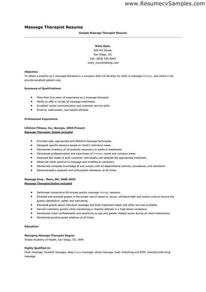 massage therapy resume objective massage therapy resume free ...