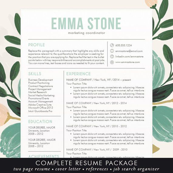 Beautiful, Modern and Unique Professional Resume / CV Template for ...