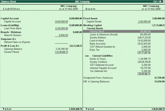 Setting Closing stock manually in the Balance Sheet