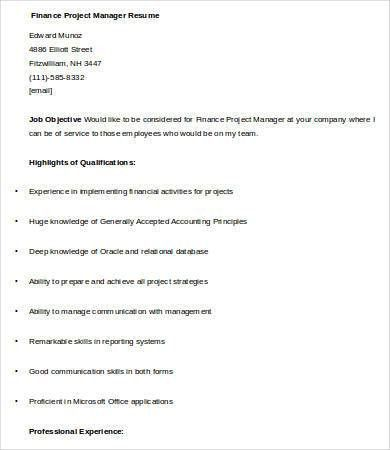 Financial Manager Resume - 7+ Free Word, Excel, PDF Format ...