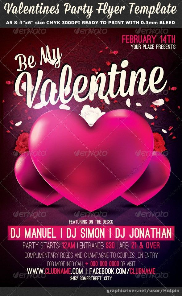 Be My Valentine Party Flyer Template by Hotpin | GraphicRiver