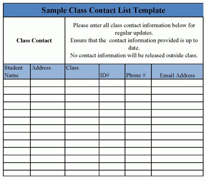 8+ class list template | Survey Template Words