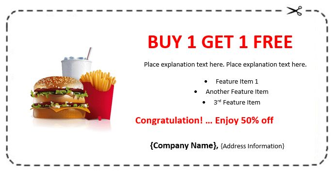 Fast Food Coupon Example – Coupon Templates