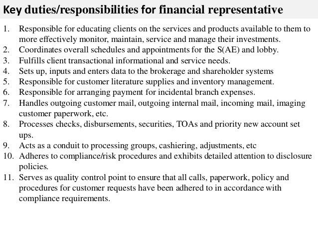 financial services representative resumes
