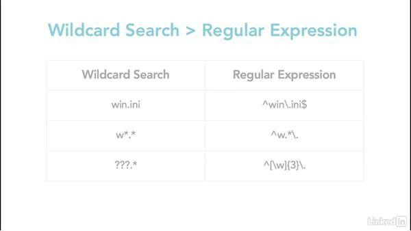 Search text using regular expressions