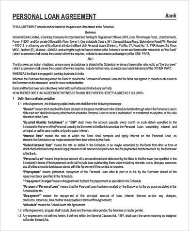 Sample Personal Loan Agreement - 9+ Examples in Word, PDF