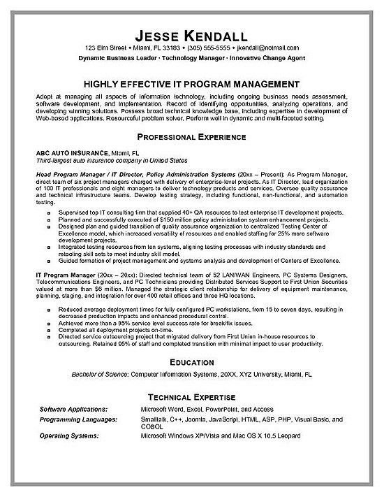Sample Project Manager Resume Example | RecentResumes.com