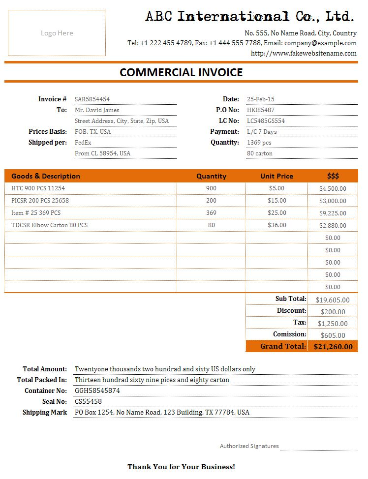 Cargo/Freight Bill and Shipment Invoice | Bills of Sale | Free ...