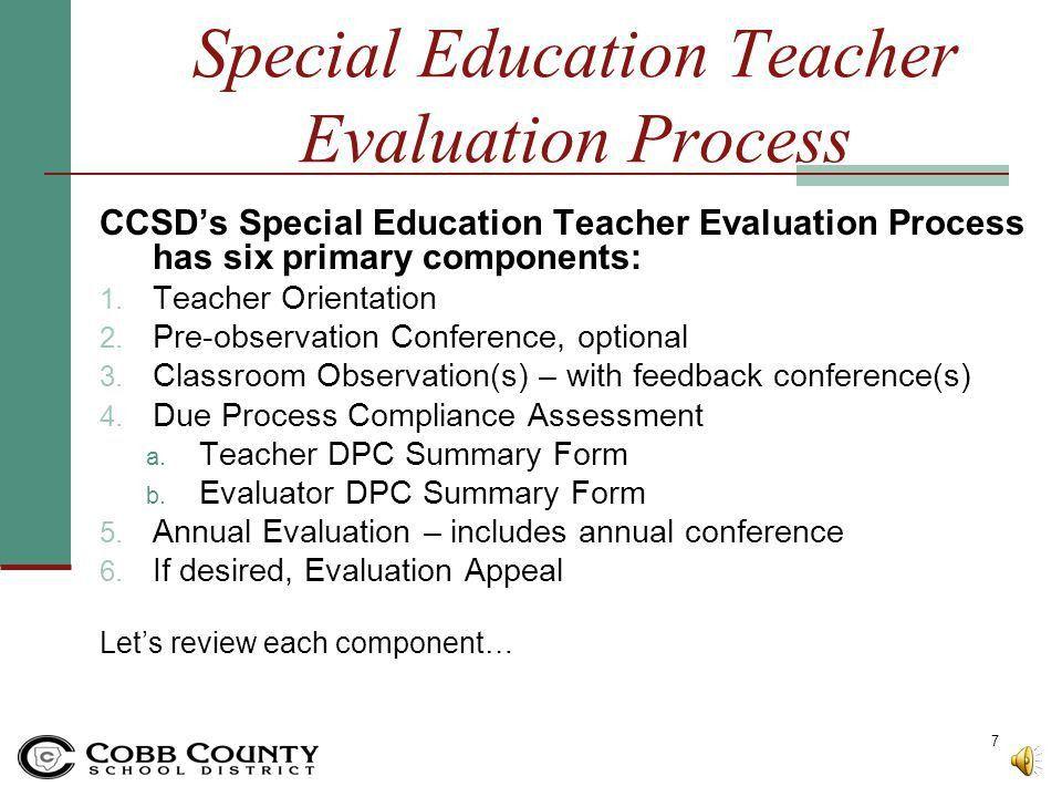 Special Education Teachers Performance Evaluation Orientation ...