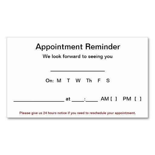 Appointment Reminder Cards (100 pack-White) Business Card ...