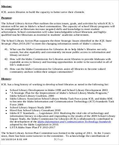 Sample School Action Plan. School Library Action Plan Example 10+ ...
