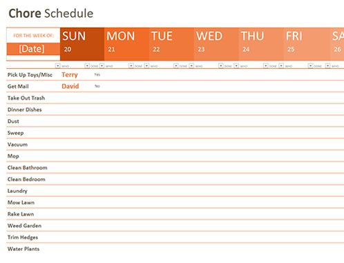Chore schedule - Office Templates
