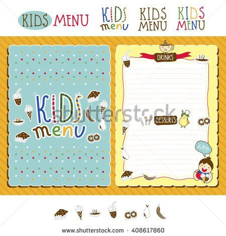 Kids Cafe Menu Design Template Cover Stock Vector 382101871 ...