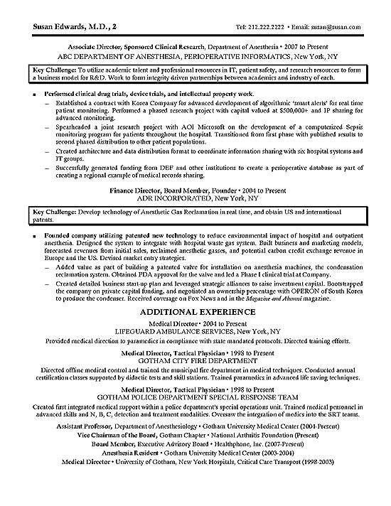 Clinical Research Resume Example