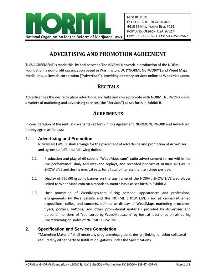 Advertising and Promotion Agreement - NORML Network and Weed Maps ...