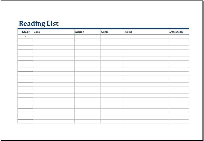 MS Excel Printable Reading List Template | Excel Templates