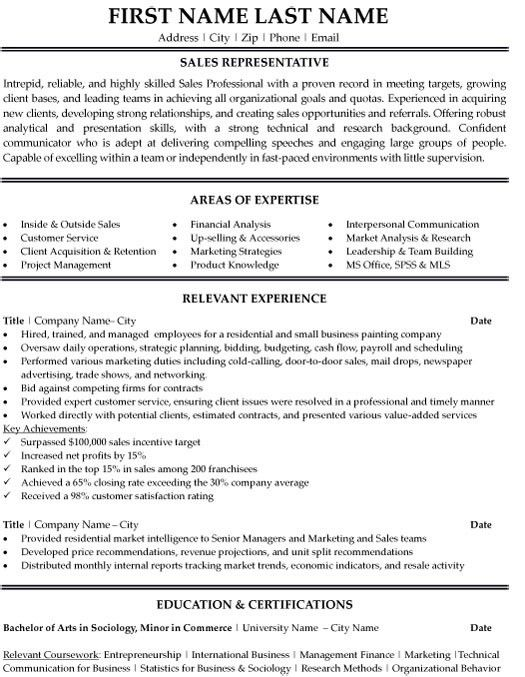 Resume Sample Sales Representative 17567 | Plgsa.org