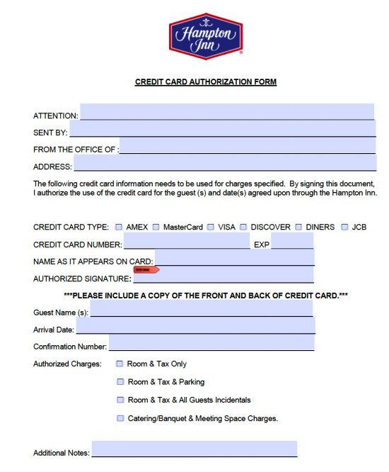 Free Hampton Inn Credit Card Authorization Form - PDF - Word