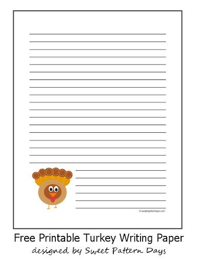 Cute Turkey Lined Writing Paper | Thanksgiving Printables ...