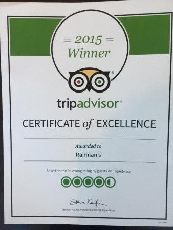 2015 Winner CERTIFICATE of EXCELLENCE. - Picture of Rahman's ...
