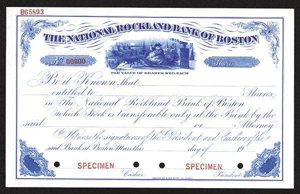 National Rockland Bank of Boston Specimen Share Certificate. Ca ...
