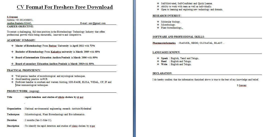Fresher Resume Samples Download | Free Resumes Tips