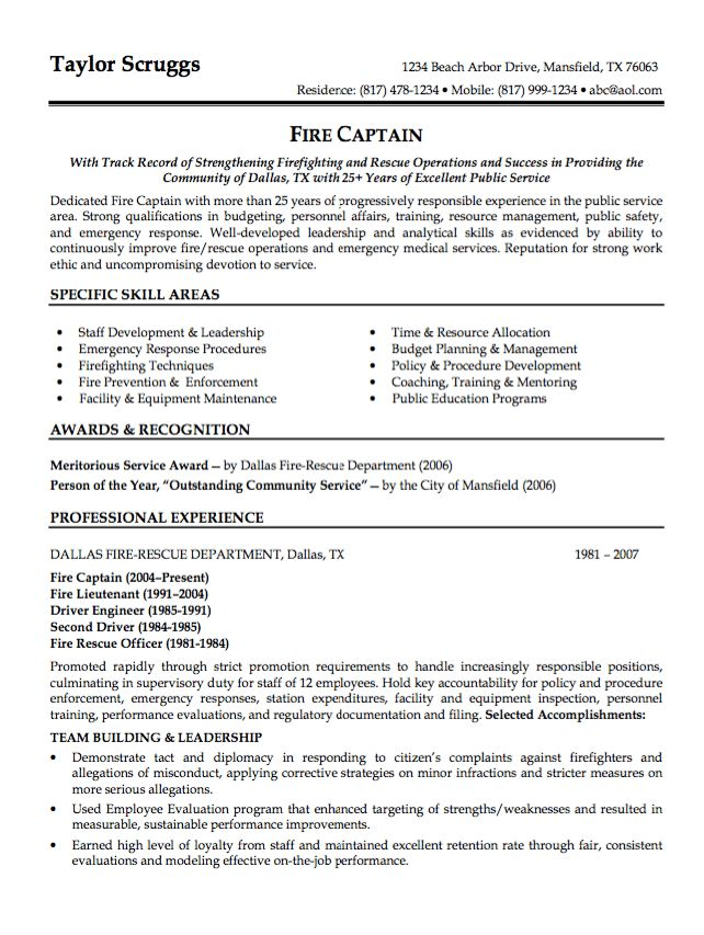 Fire Lieutenant Resume Fire Lieutenant Resume Example Free Download - fire captain resume