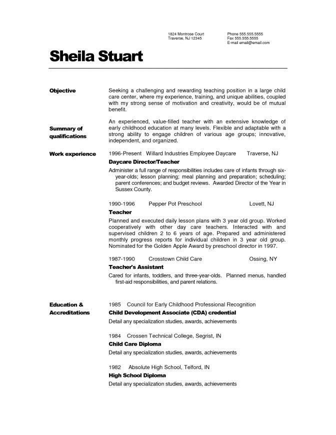 Infant Teacher Resume - Best Resume Collection