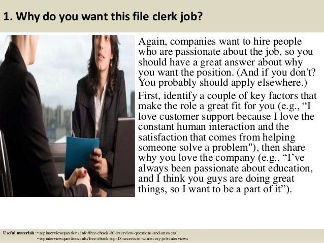 Top 10 file clerk interview questions and answers