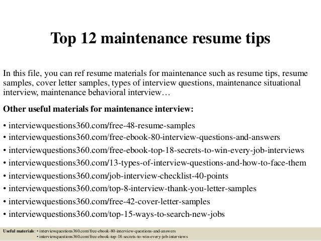 resume maintenance topmaintenance resume tips tester resume sample ...