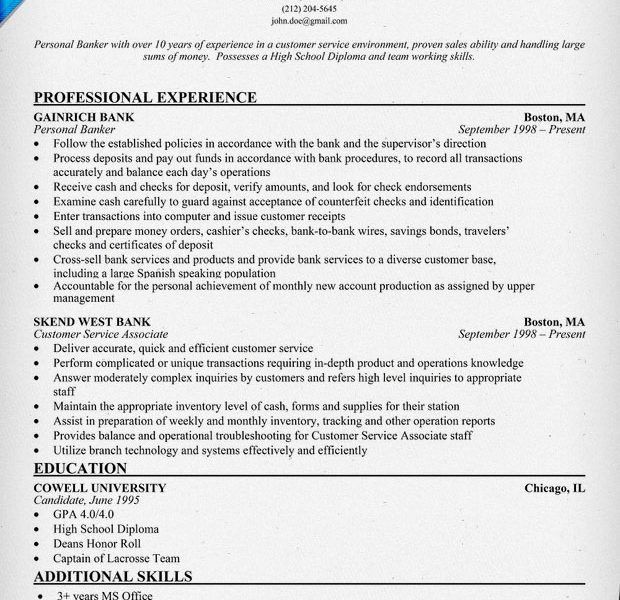 resume for personal banker professional personal banker resume