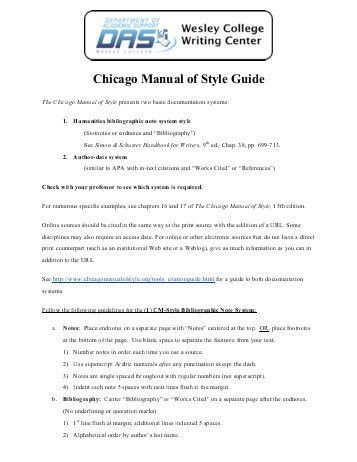 "The Chicago Manual Style ""Quick Guide†: Print ... - Wells College"
