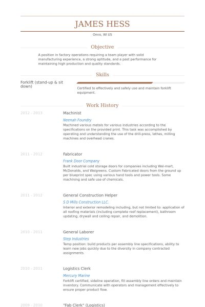 Machinist Resume samples - VisualCV resume samples database