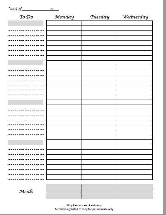 Free 2-Page Weekly Printable Planner Pages w/To-Do & Menu ...