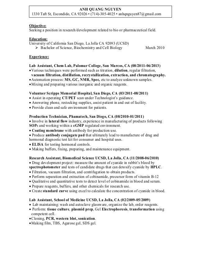 Resume of Anh Q. Nguyen Research Associate/biochemist in San Diego CA…