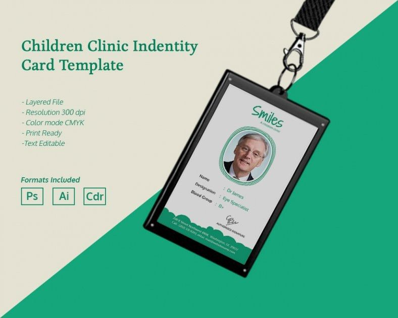 Simple Children Clinic Identity Card Template | Free & Premium ...