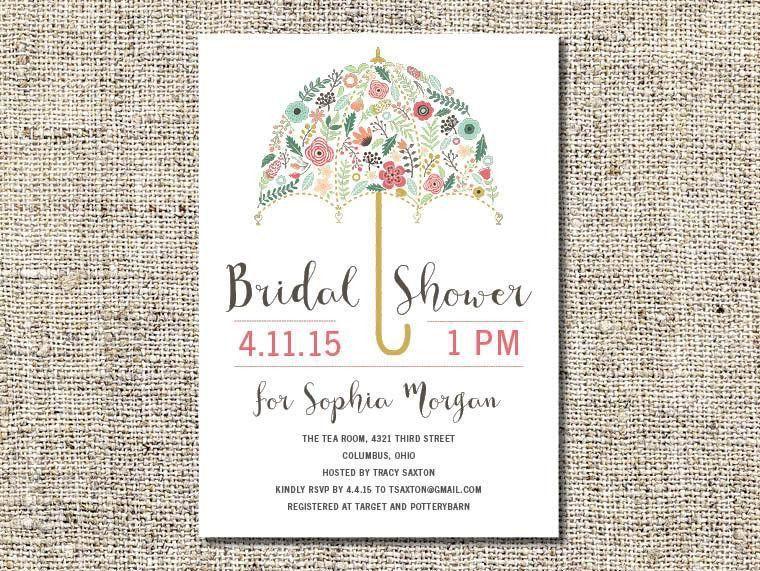 Flower Umbrella Bridal Shower Invitation Printable, Bridal Shower ...