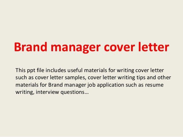 Cover letter marketing brand manager