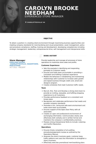 Store Manager Resume samples - VisualCV resume samples database