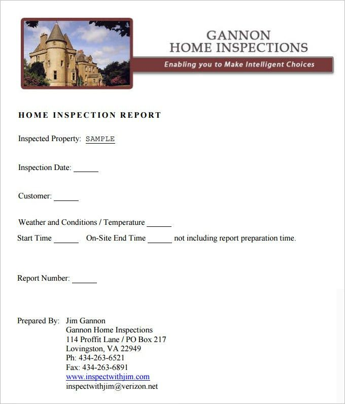 Sample Home Inspection Report Template - 9 Free Word, PDF ...