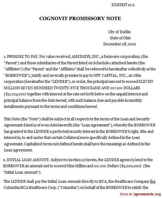 Cognovits Promissory Note Agreement, Sample Cognovits Promissory ...