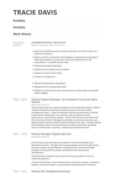 Resume samples for pharmacy technician