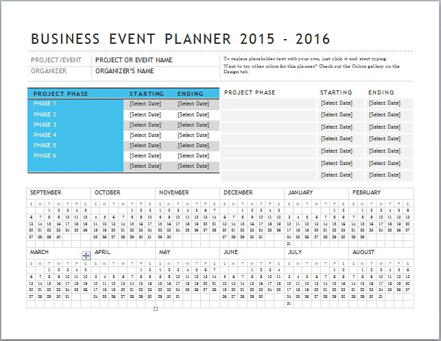 MS Excel Business Event Planner Template | Document Templates