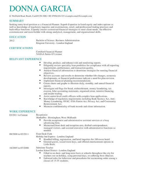 Certified Financial Planner CV Example | LiveCareer